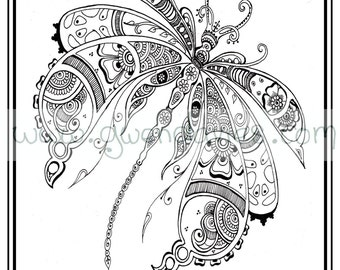 Adult Colouring In PDF Download Dragonfly Henna Zen Mandalas Garden Anti Stress Mindfulness Flowers
