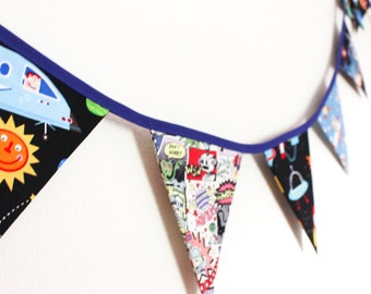 Space themed bunting, boys Christmas gift, Bedroom decor banner, Rockets spaceman garland, Xmas present toddler, kids party decoration, kids