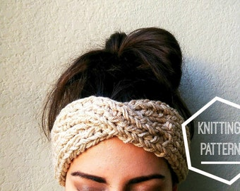Turban Style Knit Headband Pattern, DIGITAL DOWNLOAD, Knit Ear Warmer Pattern, Boho Turban Kntting Pattern, Knit Turban Ear Warmer Pattern