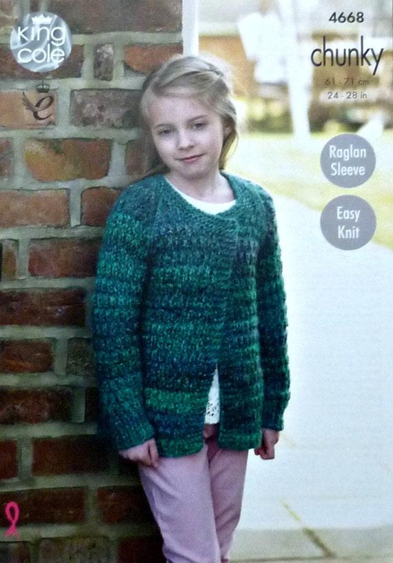Girls Knitting Pattern K4668 Girls Easy Knit Long Sleeve Edge To