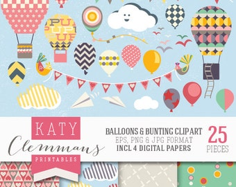 BALLOONS & BUNTING digital clip art with digital paper pack. Printable clip art, patterns, scrapbook illustrations - instant download.