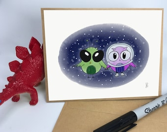 Owls in Space Valentine's Card // Love Card // Friendship Card // Anniversary Card