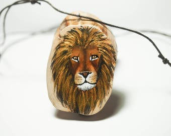 Lion with a shiny mane. Unique hand painted art jewelry