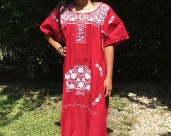 Oaxaca dress,XL,Mexican dress,Red,cotton dress,embroidered dress, BoHo dress, Muumuu dress,XLarge,summer dress,huipel