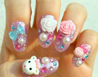 Pastel nail, deco nails, 3D nail, pastel, whimsical, teddy bear, lavender, glittery, Harajuku, over the top, kawaii nails, oval nails,