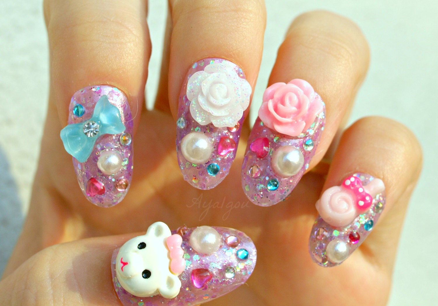 Pastel nail deco nails 3D nail pastel whimsical teddy