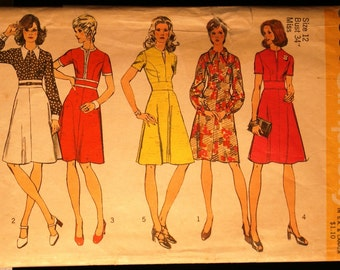 Simplicity 5500 Misses Dress with Midriff Vintage 70s Sewing Pattern Sz 12