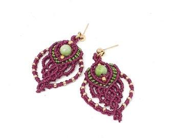 Orecchini macrame, orecchini boho, gioielli macrame, orecchini romantici, orecchini chic, orecchini delicati, orecchini con pietre dure