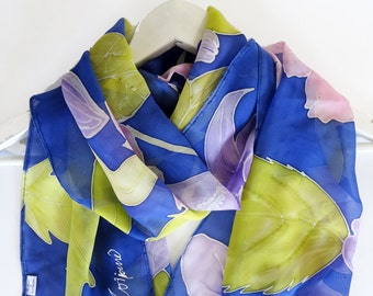 Hand painted silk scarf,Hand dyed silk scarf,Floral silk scarf,Unique silk scarf,Blue silk scarf,Summer silk scarf,Hand painted silk scarf