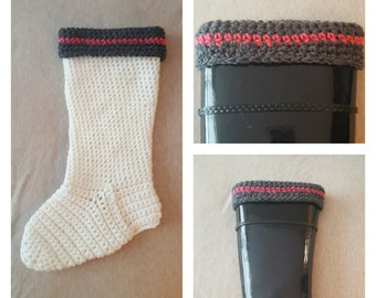 Crochet Pattern,  Hunter Boot Sock, Boot Liner, Boot Cuff