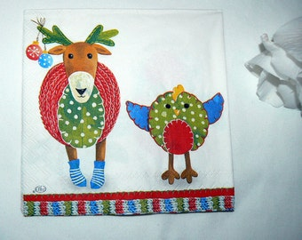 2  images Napkins from Holland Deer with chick