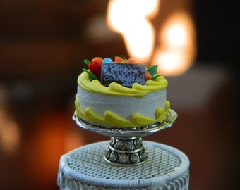 Miniature Birthday Cake On Plate Stand Dollhouse Accessories Fairy Garden Accessory