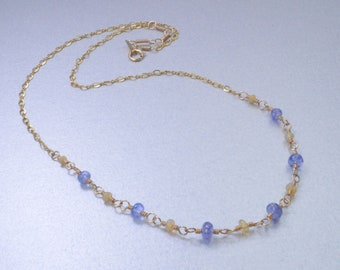 Made In Alaska Phenomenal Ethiopian Opal & Tanzanite 14k Gold Filled 18 Inch Necklace