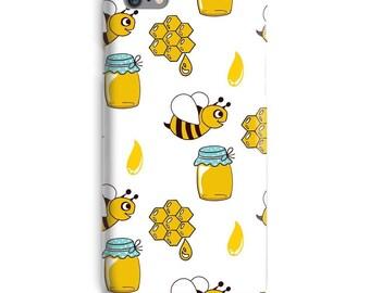 Honey Bee iPhonegeval, bijen iPhonegeval, Cute iPhonegeval 6, gele iPhonegeval 6, honing iphone 6s case, witte iPhonegeval