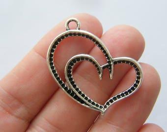 6 Heart pendants antique silver tone H173