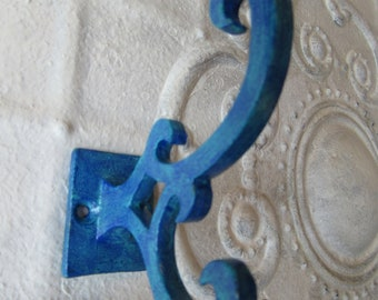 Cobalt and Turquoise Blue Wall Hook Scroll Design Hanging Double Hook Decorative for your Wall Home Decor One of a Kind H-4