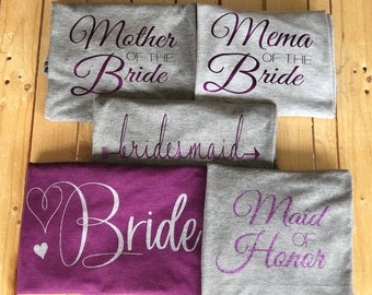 Bridal Party, wedding, SVG, bride, maid of honor, bridesmaid, mother of the bride, mema of the bride, bride shirt