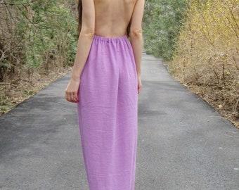 wild orchid - boho cotton gauze backless festival beach bridesmaid maxi dress xs
