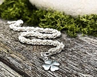 Sterling Silver Bracelet, Four Leaf Clover Bracelet, Silver Chain Mail Bracelet, Chainmaille Bracelet, Chainmail Bracelet, Unique Gift