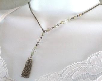 Dainty Brass Chain Crystal Tassel Necklace, Bronze Chain, Crystal Necklace, Chain Necklace, Brass Jewelry, Brass Tassel Jewelry