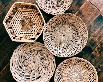 Vintage 5-Piece Rattan Basket Collage / Set of Boho Wall Baskets / Bohemian Wall Decor