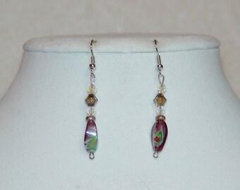 Purple Swirl Dangle Earrings