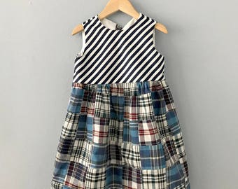Ready to Ship, Segelerite Girls Dress, Girls Madras Dress, Blue Dress, Toddler Dress, Girls Mixed Dress, Girls Spring Dress, Stripe Dress 5