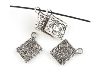 8  Detailed BOOK OF SHADOWS Charms Journal Diary Charm Book Lover Jewelry Antique Silver Tone 17x11 mm
