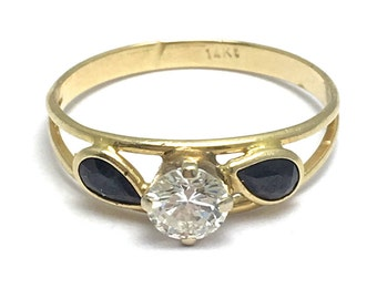 14k Yellow Gold Black Jade and Diamond Ring - Round Diamond with Jade Petals - Size 7 1/4 - Flower - Floral Design # 4189