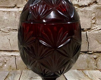 Vintage Luminarc Ruby Red Glass Egg Shaped Covered Compote Candy Dish