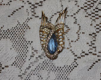 Vintage Coro Craft Sterling Silver Blue and Clear Rhinestone Swan Brooch Pin