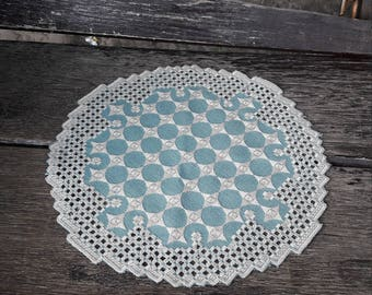 Doily on the table, hand-embroidered technique of Hardanger embroidery, hand made, interior, unique, vintage style, needlepoint