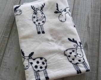 Blanket, minky plush - black and white Moose
