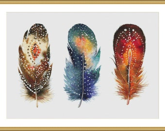 Bohemian Feathers, Western Art - Counted Cross Stitch Pattern, Cross-stitch, crossstitch, xstitch,x-stitch, chart, Instant Download PDF