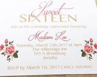 Sweet Sixteen double layered Invite
