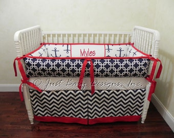 Custom Crib Bedding Set Myles - Nautical Baby Bedding, Boy Baby Bedding,  Navy Anchors, Chevron and Red Baby Bedding