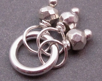 Silver Pyrite Trio, Wire Wrap Pendant, Bracelet Charm, Necklace Pendant, Gemstone Charm with Sterling Silver Jump Ring