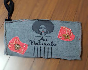 Afro Clutch- upcycled clutch purse