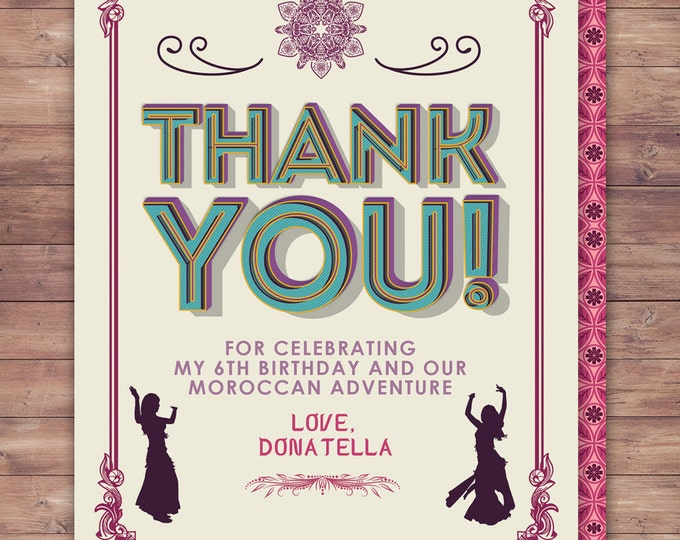 Moroccan thank you card, Morocco, India, Bollywood- travel birthday party invitation- Moroccan birthday-ethnic
