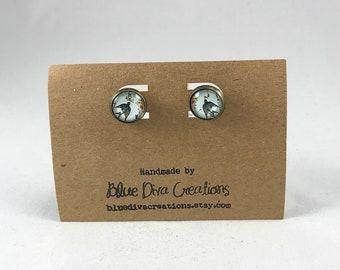 Sparrow Earrings, Bird Jewelry, Photo Jewelry, Post Earrings, 12mm Earrings, Photo Collage Jewelry, Stud Earrings