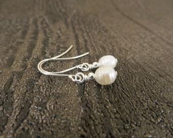 03 - EBX08: Pearl earrings dangle, pearl drop earrings, freshwater cultured pearl earrings, petite pearl earrings, cream pearls