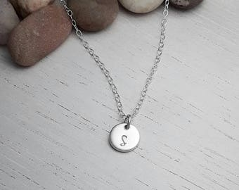 Small initial pendant, monogram necklace, hand stamped jewellery