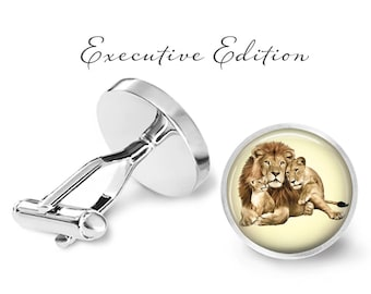Lion Family Cufflinks - Lion Cuff Links - Lioness Cufflink - Lions Cufflinks (Pair) Lifetime Guarantee (S0658)