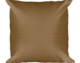 Brown Grid Square Pillow