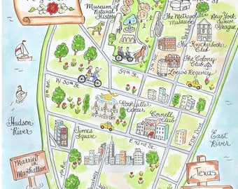 Custom Wedding Map - New York - Hand Drawn Wedding Map-Watercolor Map of New York