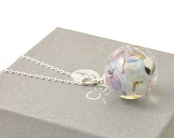 Impressionist Floral Glass Necklace | Long Flower Pendant with Handmade Glass Globe and Sterling Silver | UK Lampwork Jewellery