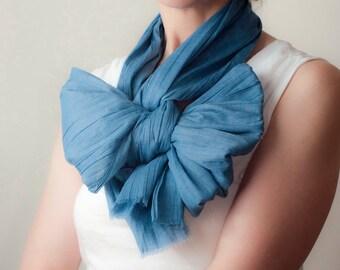 Blaue Baumwolle überdimensioniert Schal klassische Schal Raw Edge Fringe Schal Ecofriendly Schal Bow Schal Unisex Herren Damen Frühjahr Mode-Accessoires