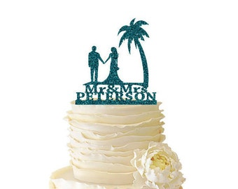 Glitter Beach Scene Bride and Groom with Last Name  - Acrylic - Wedding - Anniversary - Destination Wedding - Beach Cake Topper - 144