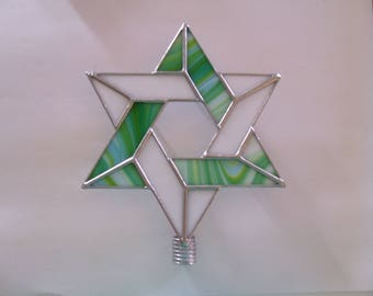 Lighted Interfaith Tree Topper, Stained Glass Jewish Star, Six Point Star for Blended Families, Star of David Tree Topper with Light Clips