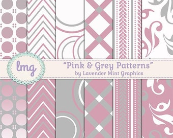Pink and Grey Digital Background Papers with Polka Dots, Chevron, Lattice, and Floral Backgrounds, Instant Download, Commercial Use